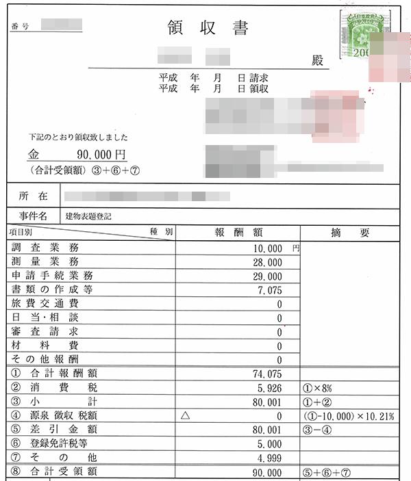 土地家屋調査士へ支払った表示登記の領収書
