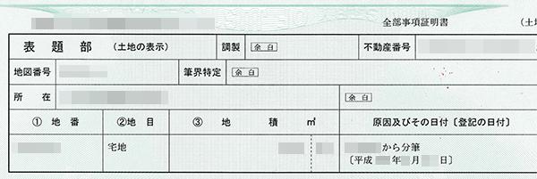 実際の登記簿謄本(表題部)